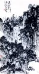 龚光万日志-国画写意山水画《数家茅屋清溪上,千树蝉声落照中》,尺寸68x【图1】