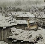 刘娟日志-《鹿溪霁雪》《冬日鹿语》国画动物画鹿,新作,四尺斗方68*6【图1】