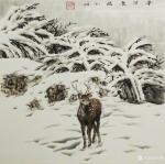 刘娟日志-《鹿溪霁雪》《冬日鹿语》国画动物画鹿,新作,四尺斗方68*6【图2】