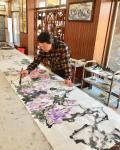 叶仲桥日志-《紫气东来》规格240*70cm,国画写意花鸟画新作,分享以【图3】