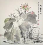 杜章瑞日志-《荷韵清风》《青莲荷韵》,国画花鸟画荷花,尺寸斗方60*60【图1】