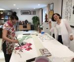 汪琼生活-在黄山卫康作画掠影……创作了《神仙图》,国画花鸟画,尺寸50【图3】