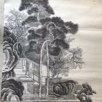 孙通成日志-最近创作的两幅国画山水画《山居图》,上色前后对比图,尺寸四尺【图1】