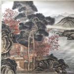 孙通成日志-最近创作的两幅国画山水画《山居图》,上色前后对比图,尺寸四尺【图2】