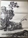 孙通成日志-最近创作的两幅国画山水画《山居图》,上色前后对比图,尺寸四尺【图3】