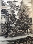 孙通成日志-最近创作的两幅国画山水画《山居图》,上色前后对比图,尺寸四尺【图4】