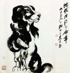 张近生日志-国画动物画狗狗系列作品:《独立院外静悄然 暮色既临忧思安 主【图3】