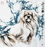 张近生日志-国画动物画狗狗系列作品:《独立院外静悄然 暮色既临忧思安 主【图5】