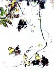 """龚光万日志-国画花鸟画《扁豆花香》,画面诗意:""""一庭春雨瓢儿菜,满架秋风【图4】"""
