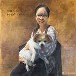 周海波藏宝-布面油画肖像画《少女与狗狗》,画廊肖像订制作品,刚刚绘制完成【图1】