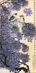 """石广生日志-国画花鸟画《笑翠鸟和蓝花楹》,题诗文曰:""""东风漫紫雪,鸟来花【图2】"""