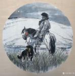 于波日志-国画人物画新作两幅《高原之夜》《待晓》,尺寸四尺斗方68x6【图1】