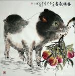 田光荣日志-乙亥年新作欣赏«春猪献寿»两幅,四尺斗方68x68cm,四尺【图2】