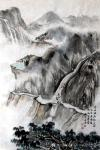 吴谦弘日志-《雨后访友图-吴谦弘山水画2015》,画芯,设色宣纸,约高7【图1】