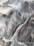 吴谦弘日志-《雨后访友图-吴谦弘山水画2015》,画芯,设色宣纸,约高7【图2】