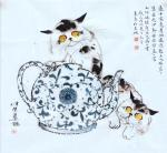金新宇日志-国画《茶壶与猫》壶中究竟甚物藏,总教主人醉茫茫,莫若趁伊熟睡【图1】