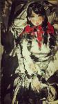 王晓鹏荣誉-国画人物画(水墨画)作品《德峨收玉米女孩》参加法国巴黎201【图1】
