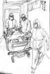 赵国毅日志-抗击新型冠状病毒疫情人物速写作品《争分夺秒》《武汉方庄医院的【图1】