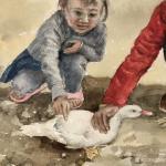 周海波日志-水彩人物画《不得返学的孩子》; 时间有限,只好关注身边的事【图4】