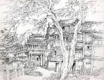 阎敏日志-阎敏版画写生作品《山寨风情》四幅,请欣赏。【图2】