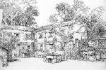 阎敏日志-阎敏版画写生作品《山寨风情》四幅,请欣赏。【图3】