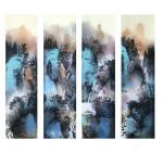 任振山日志-任振山彩墨山水画竖幅六尺对开条屏作品欣赏,《一江春水一江涛 【图2】