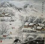 吉大华日志-水粉画《乡屯抗疫》,作品尺寸四尺斗方68X68CM; 描绘【图1】