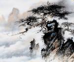 罗树辉日志-国画山水画松树扇面作品《蛟龙探海》《金龙探爪》; 取诗词诗【图2】