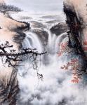 罗树辉日志-国画山水画作品《猿戏云水间 》,尺寸四尺整纸138X68CM【图2】
