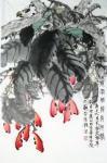 李伟强日志-大红大紫国画花鸟画《微风轻抚俏阿娇》《紫藤拂花树,黄鸟度青枝【图1】