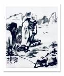 龚光万日志-国画水墨写意山水画《诗题竹窗外,茶煮石根泉》作品尺寸小八尺2【图2】