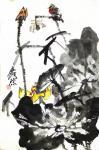 甘庆琼日志-甘庆琼庚子年冬月国画写意花鸟画新作《田园趣》《村头》《远瞻》【图5】