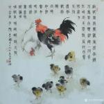 李伟强日志-国画画鸟画《风雨闻鸡》庚子年腊月十九李伟强创作於广州; 鸡【图1】