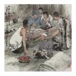 高显惠藏宝-国画人物画《血染黎明》《杨运夜宿陈屯枣峡堡》辛丑年春月高显惠【图2】