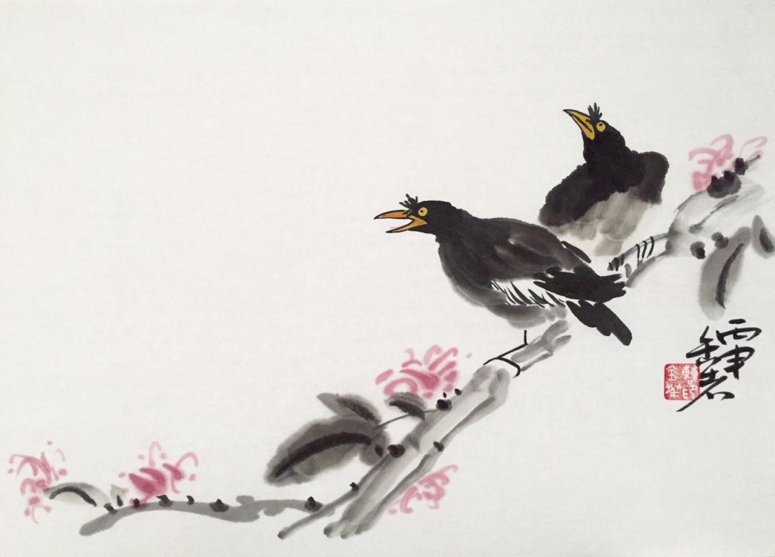 曹金华国画作品《【二鸟迎春】作者曹金华》【图0】