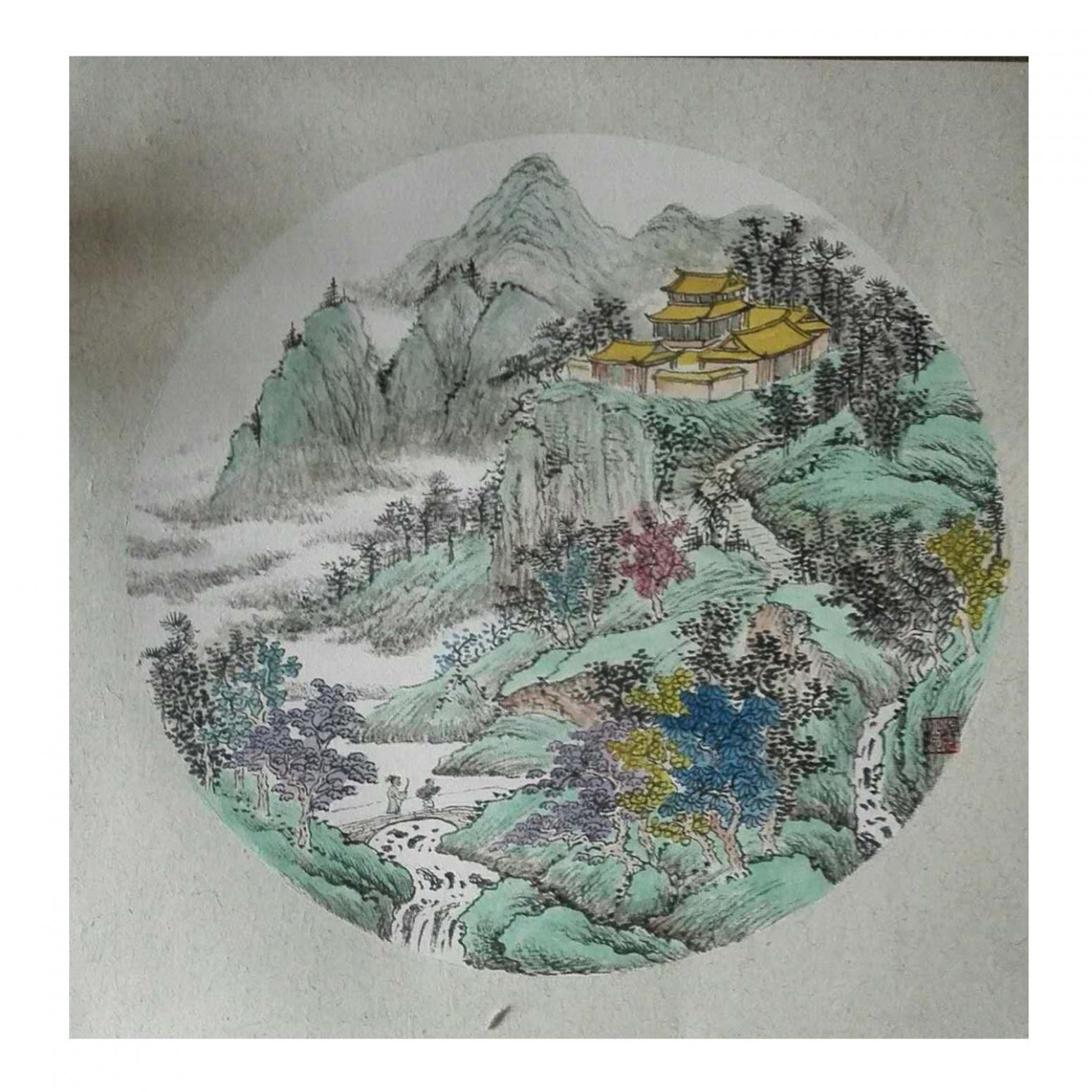 陈奇培国画作品《【圆形软卡】作者陈奇培 临摹》