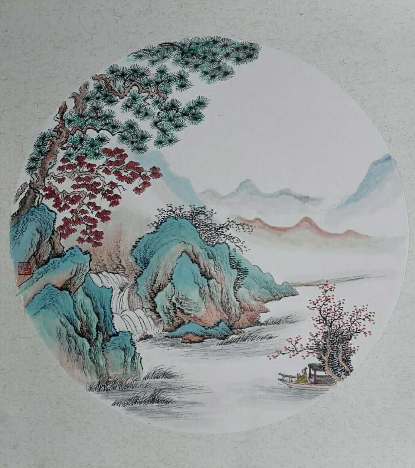陈奇培国画作品《【圆形软卡】作者陈奇培 临摹》【图0】