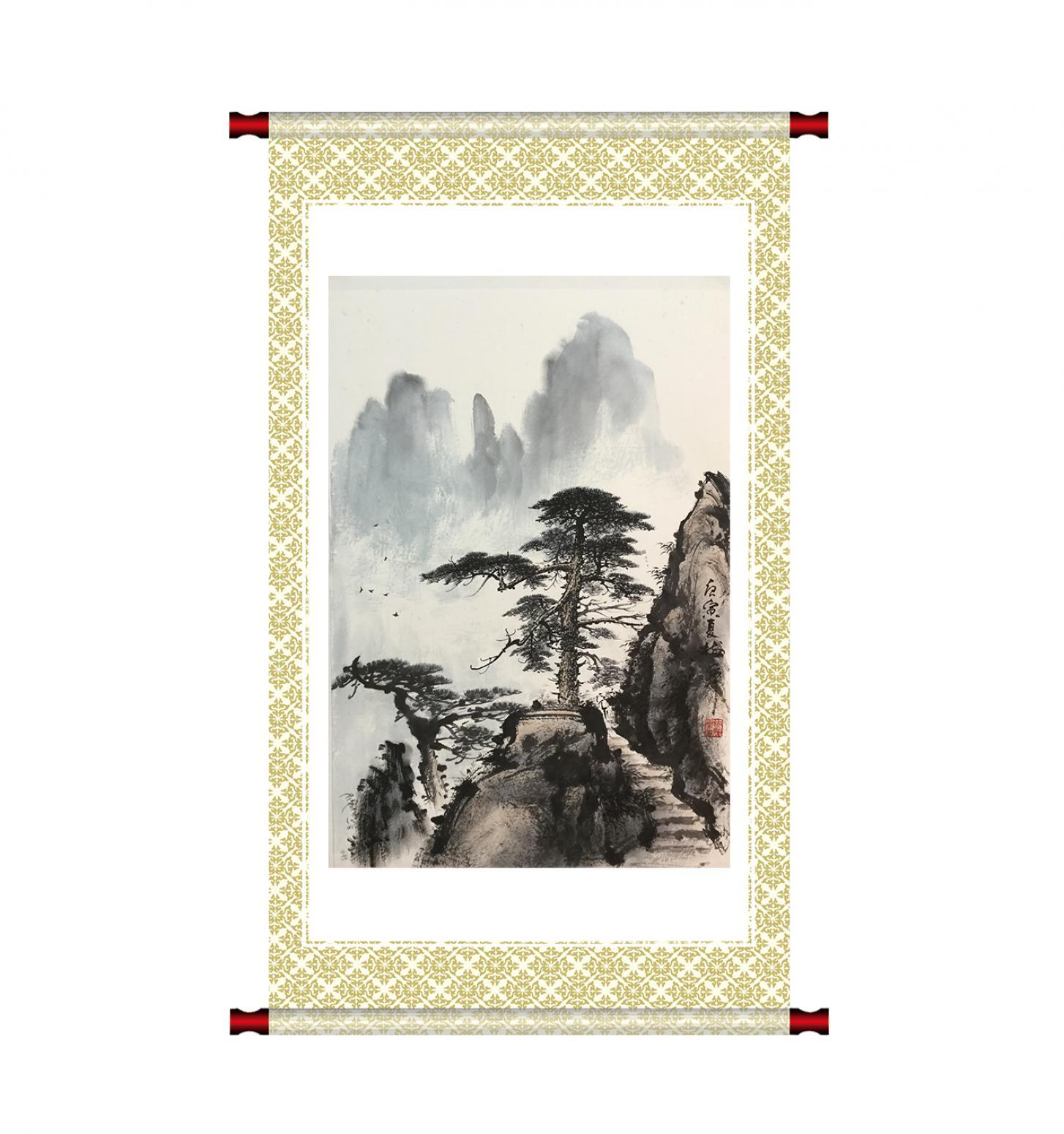 罗树辉国画作品《山水松树-不与相让》【图1】