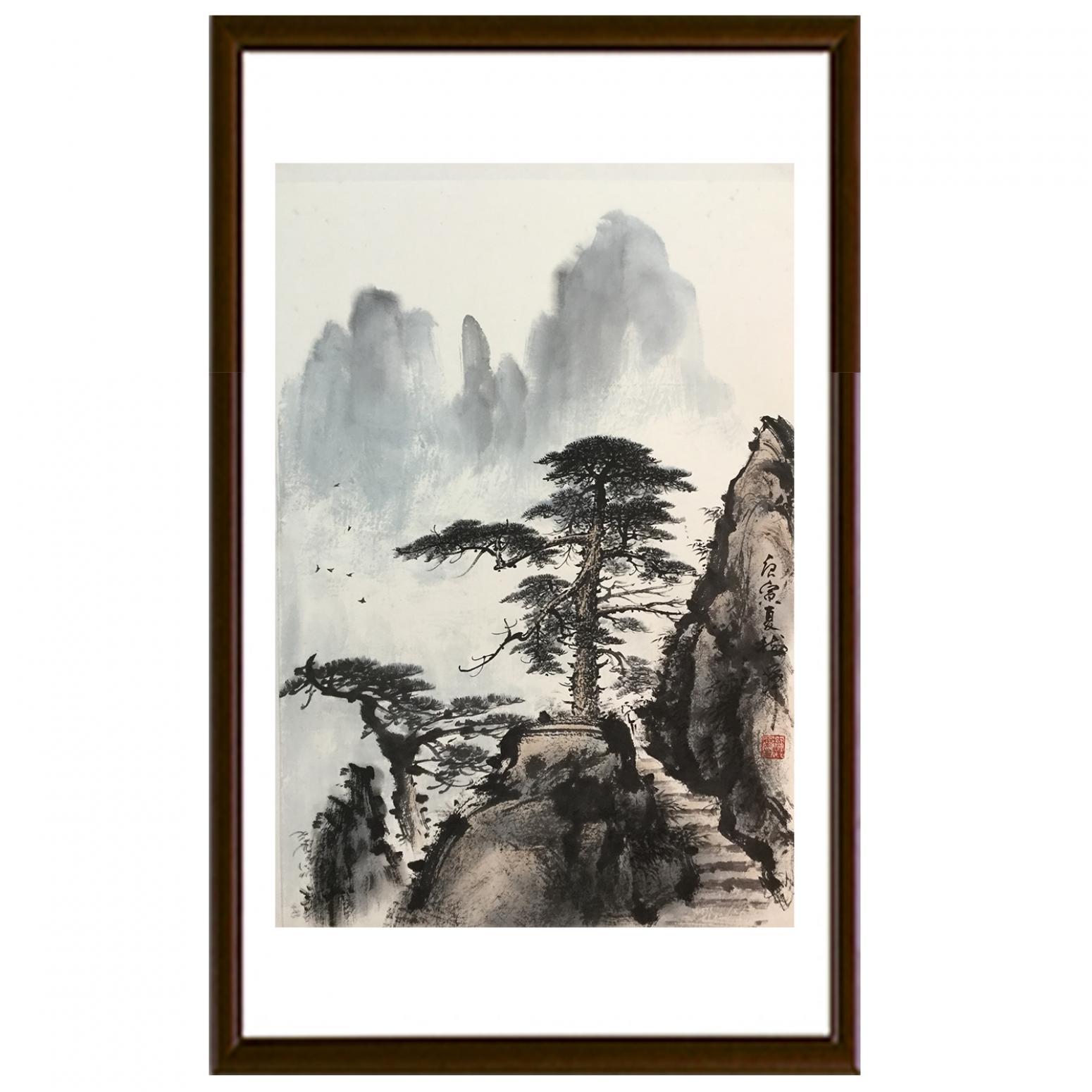 罗树辉国画作品《山水松树-不与相让》【图2】