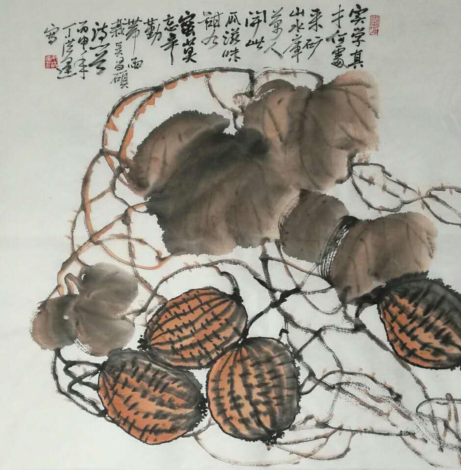 丁洪运国画作品《【瓜熟蒂落】作者丁洪运》【图0】