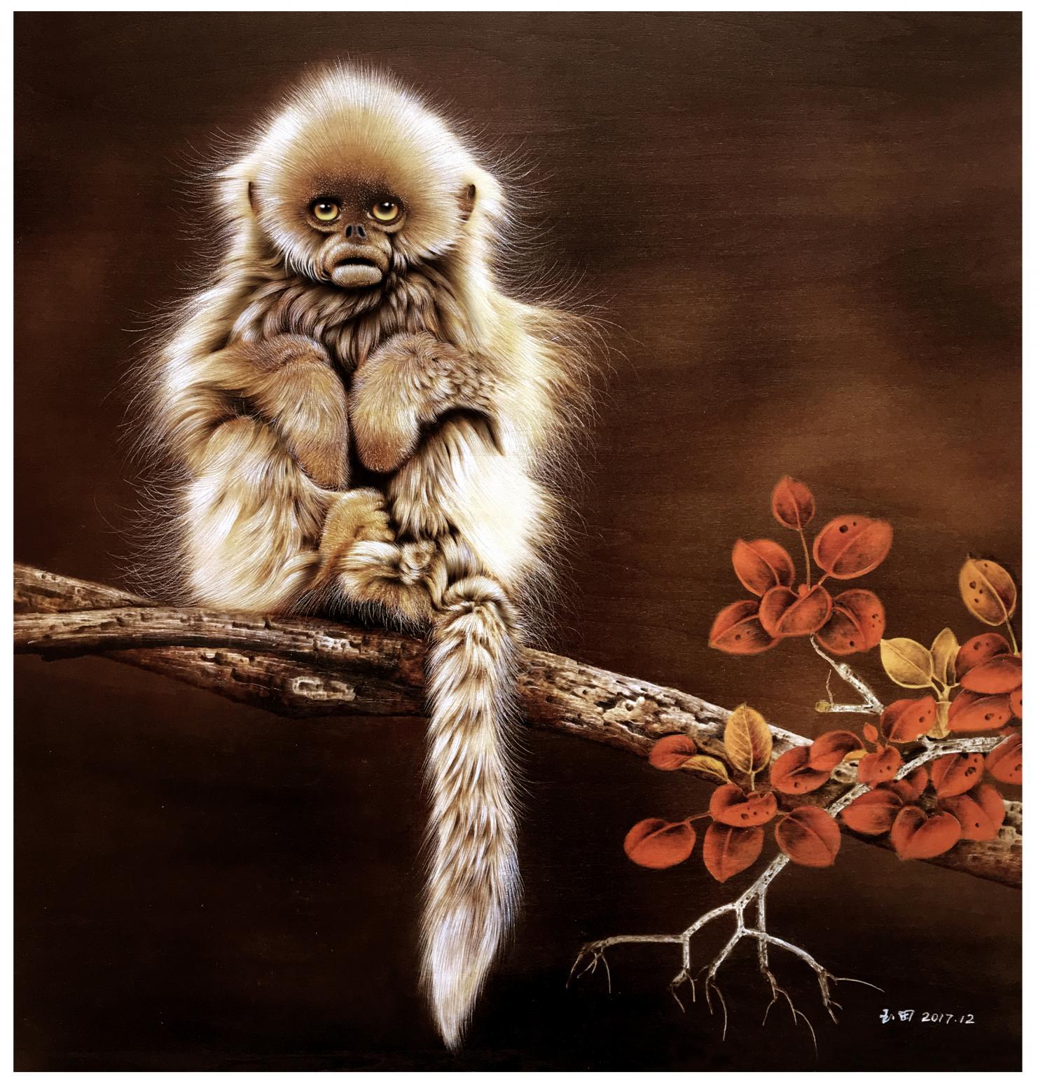 田玉田手工作品《木板烙画动物系列《猴》》