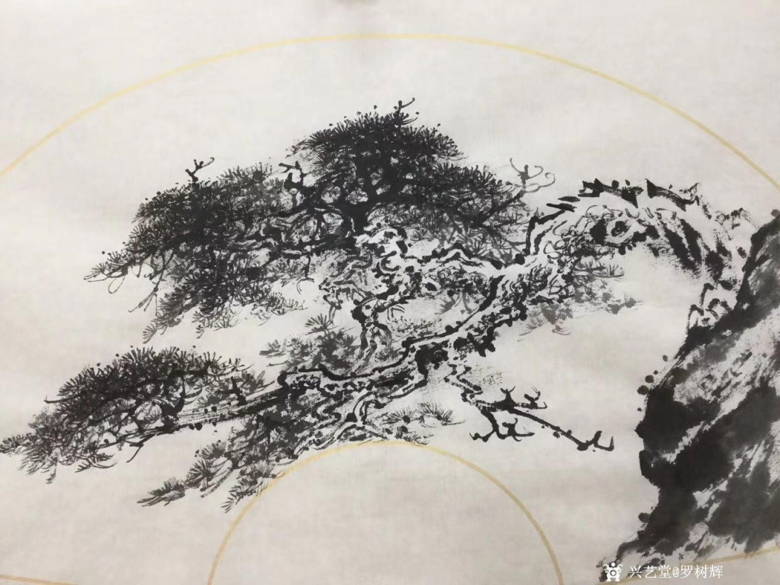 罗树辉国画作品《松树-蛟龙出海》【图0】