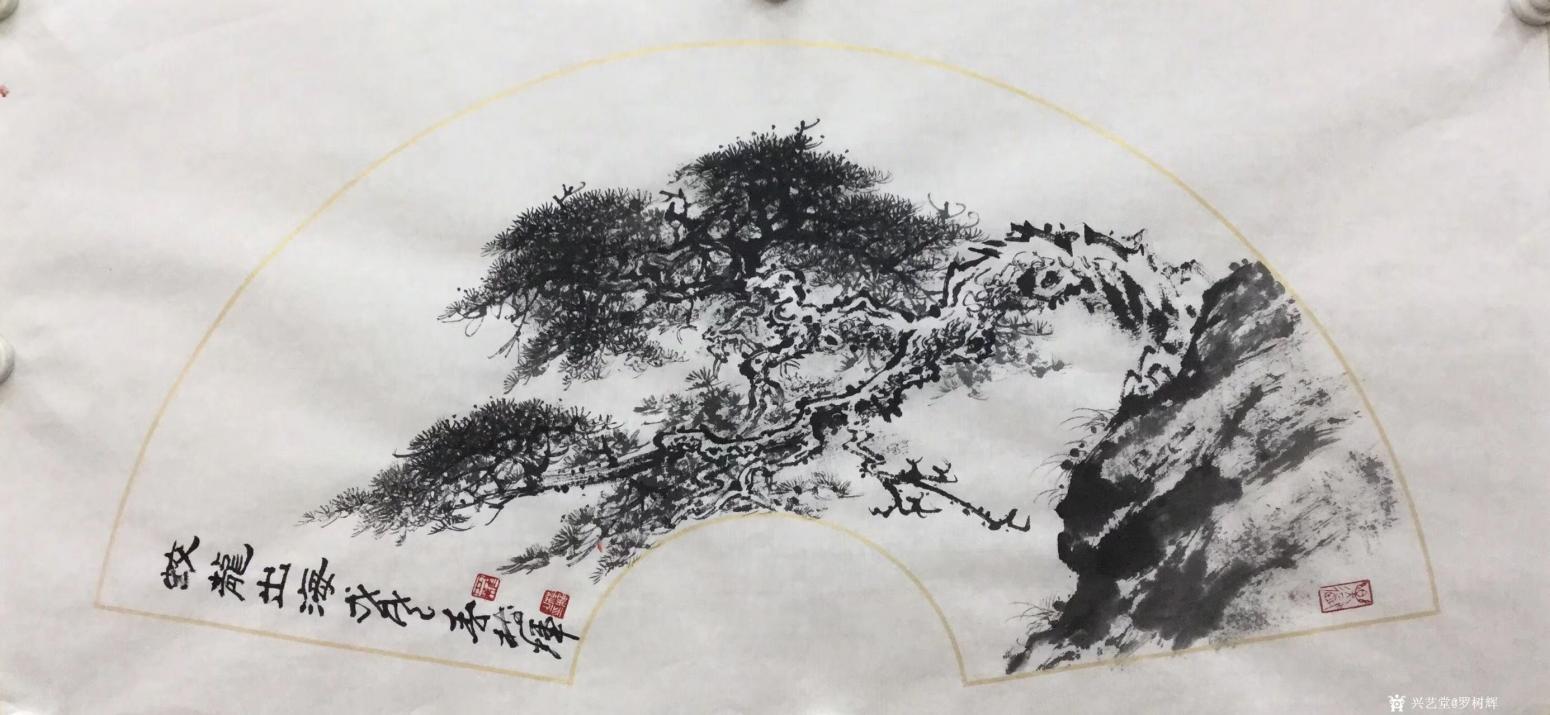 罗树辉国画作品《松树-蛟龙出海》