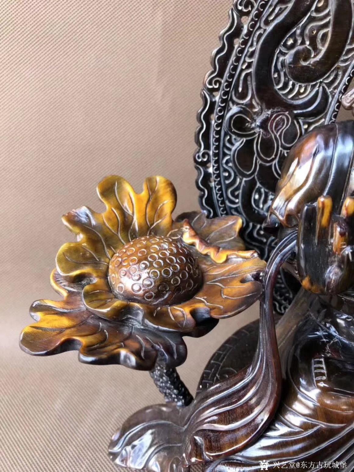 东方古玩城堡雕刻作品《老牛角观音佛像》【图6】