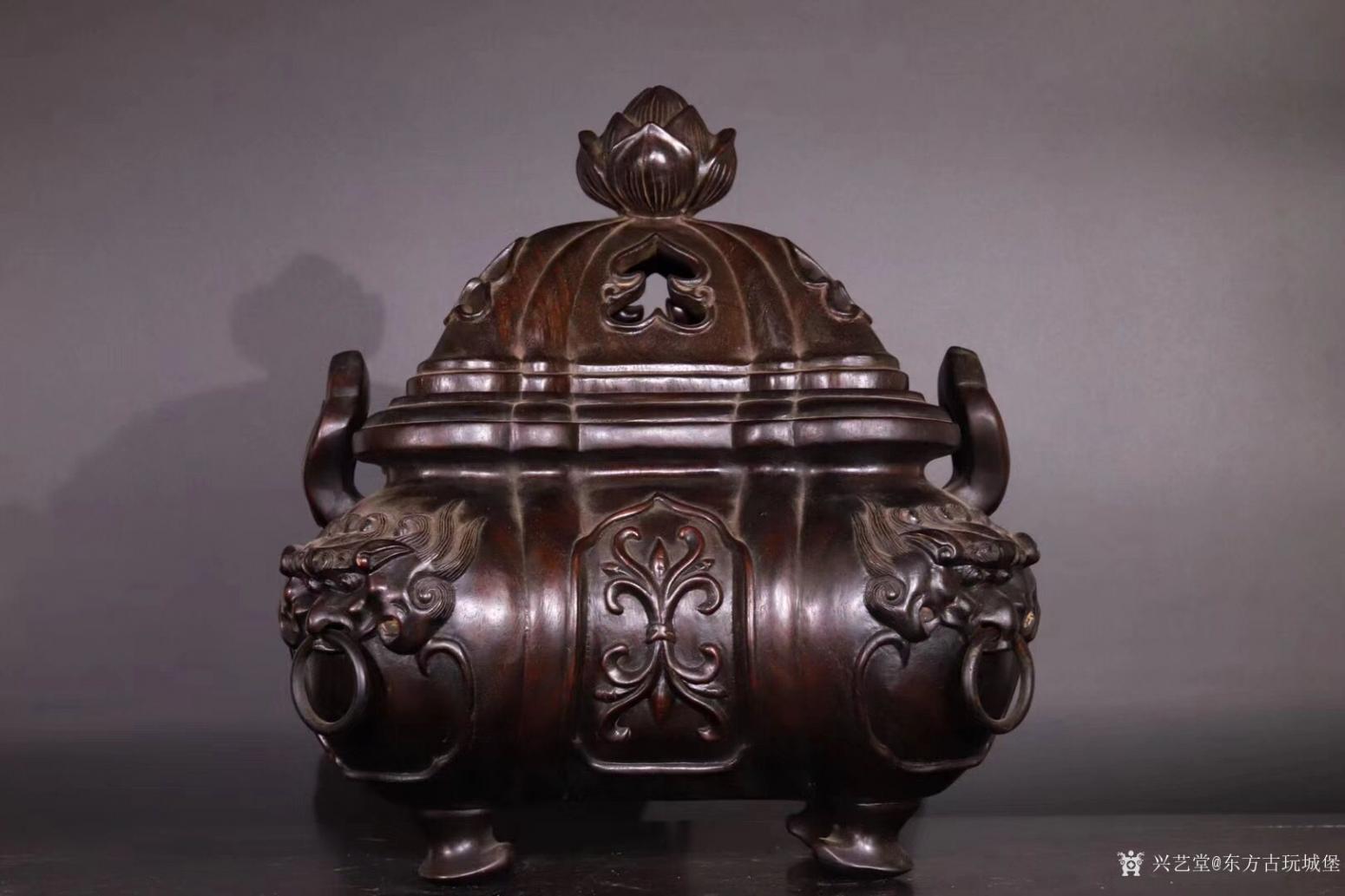 东方古玩城堡雕刻作品《紫檀香薰炉》【图0】