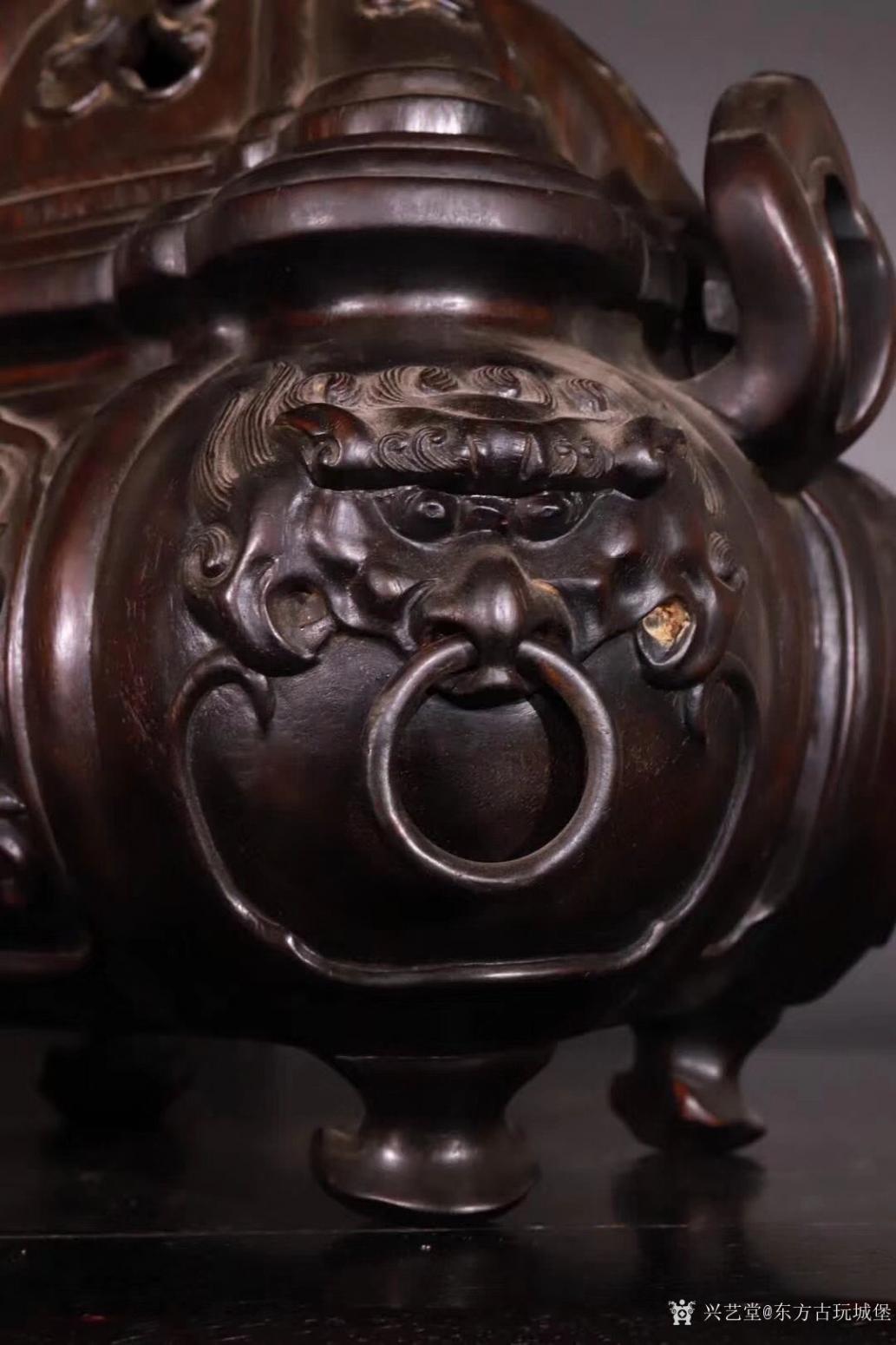 东方古玩城堡雕刻作品《紫檀香薰炉》【图2】