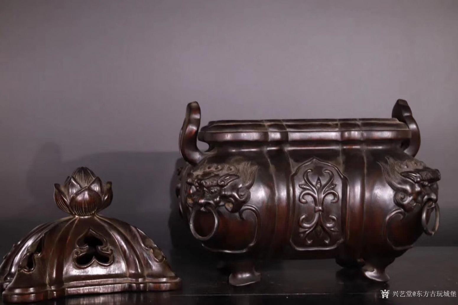 东方古玩城堡雕刻作品《紫檀香薰炉》【图4】