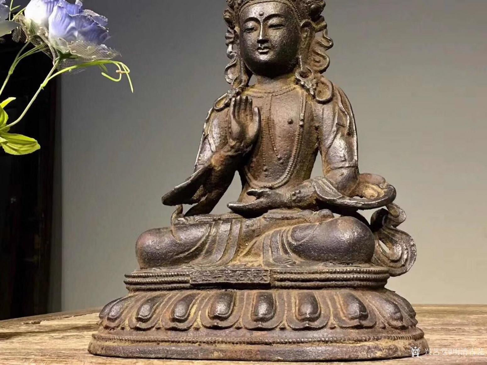 明清古艺雕刻作品《佛像菩萨盘坐》【图2】
