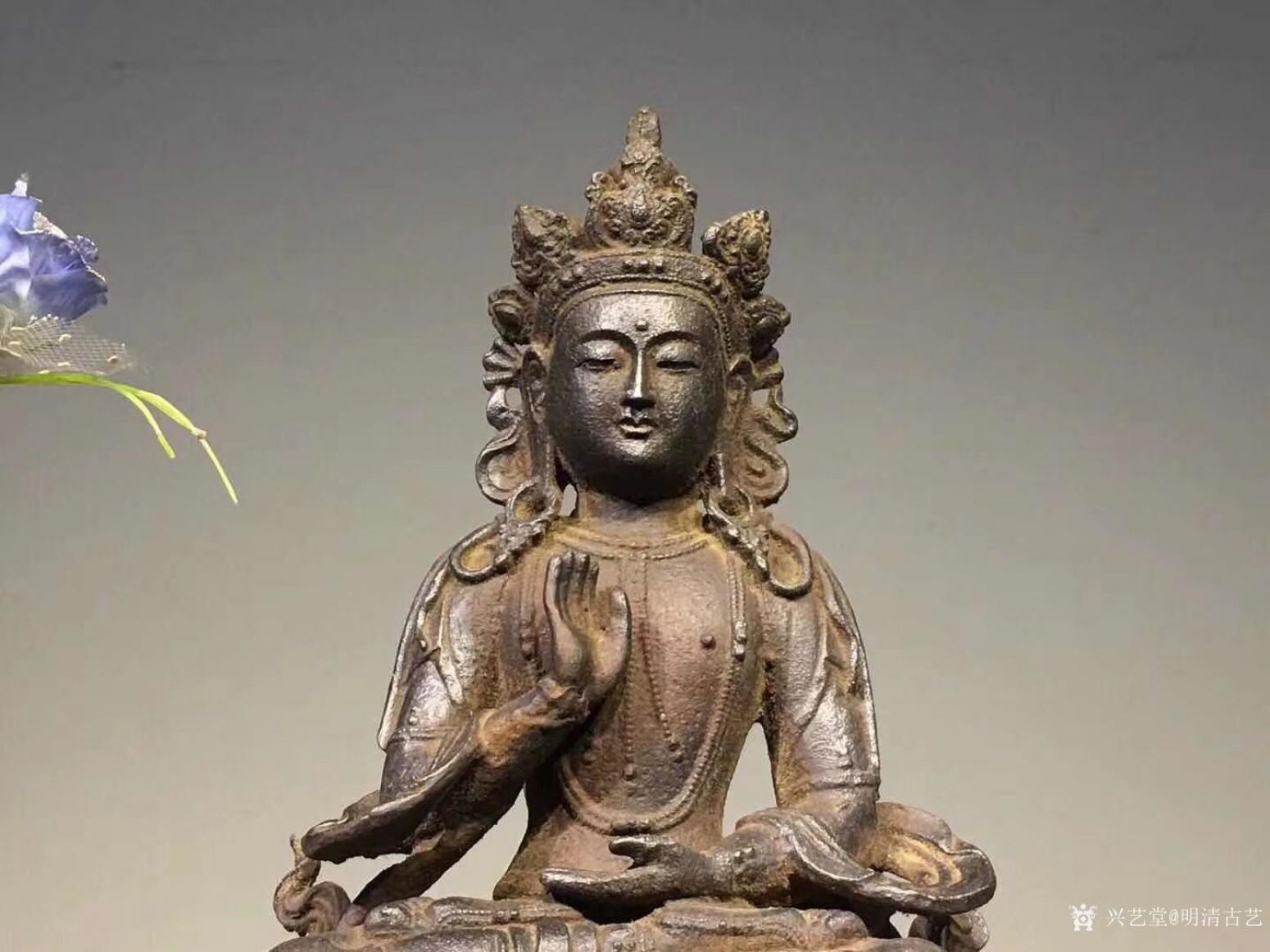 明清古艺雕刻作品《佛像菩萨盘坐》【图3】