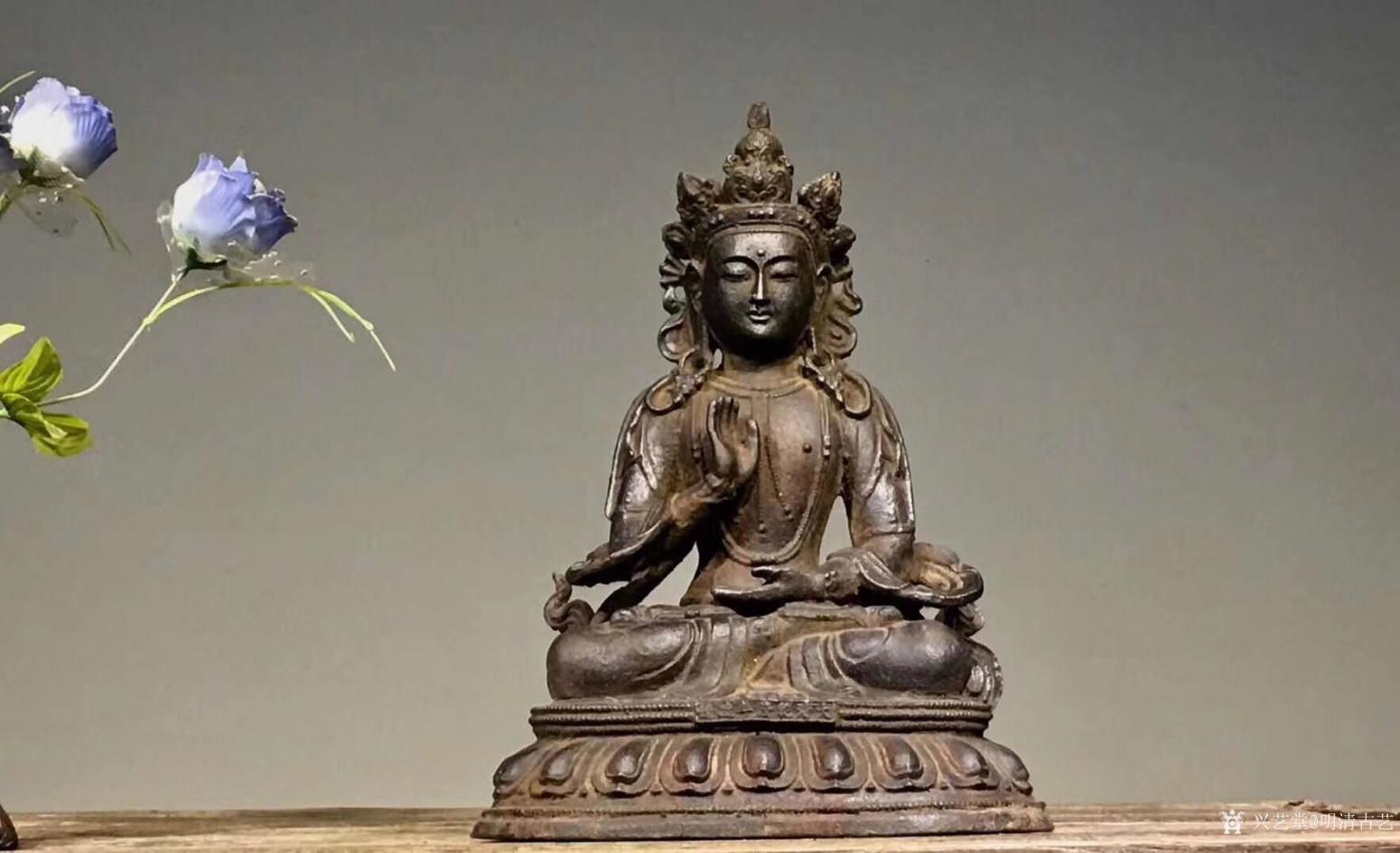 明清古艺雕刻作品《佛像菩萨盘坐》【图4】